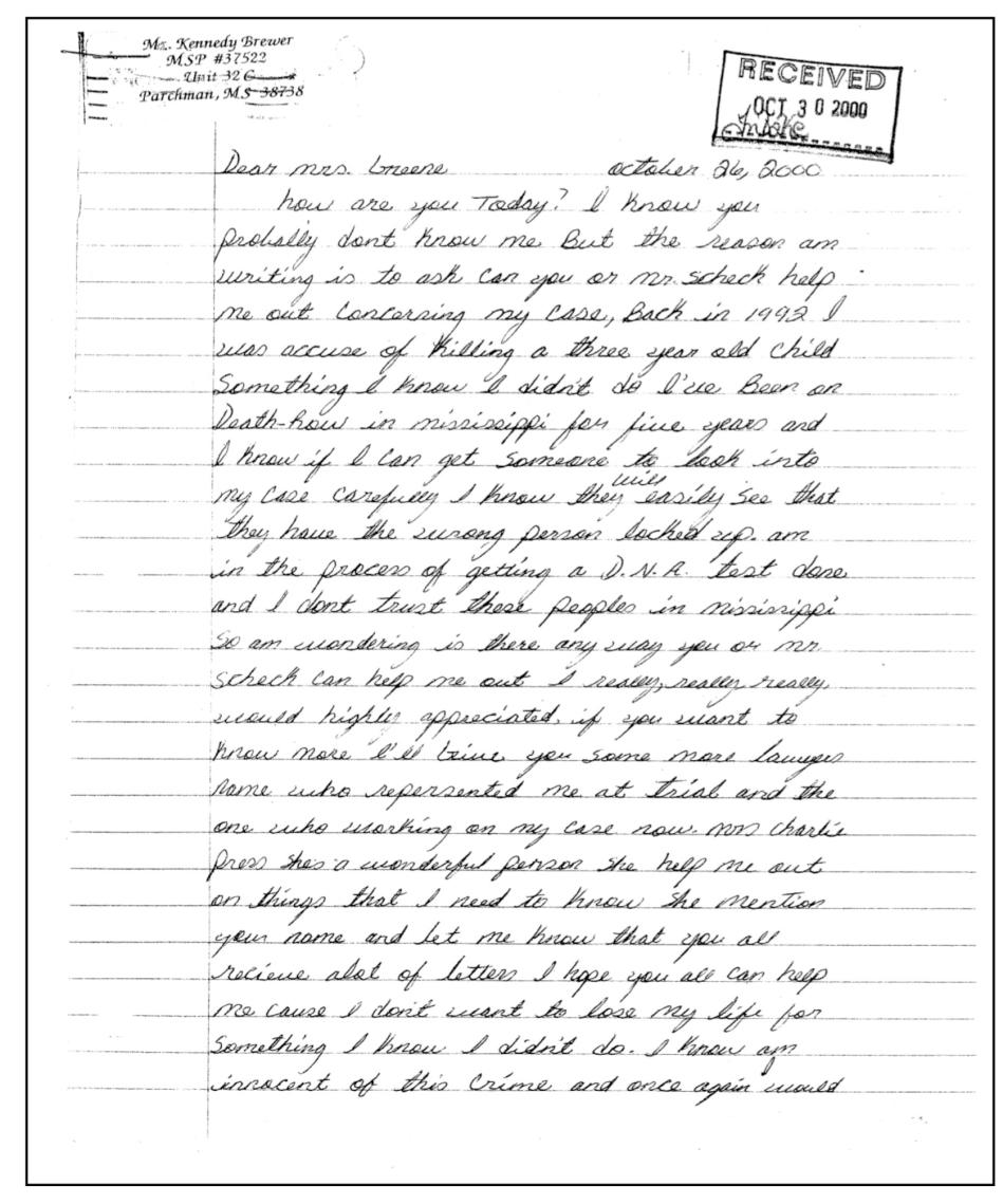 Kennedy Brewer's letter (page 1)